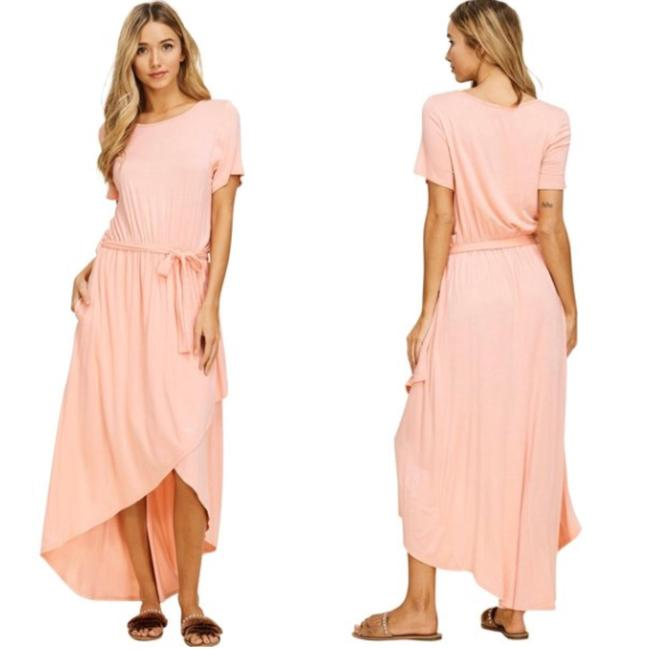 Peach Maxi Dress by Annabelle With Pockets Wrap Maxi Cover Up Image 1