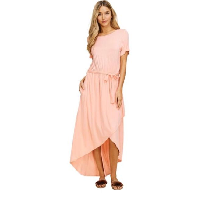 Peach Maxi Dress by Annabelle With Pockets Wrap Maxi Cover Up Image 9