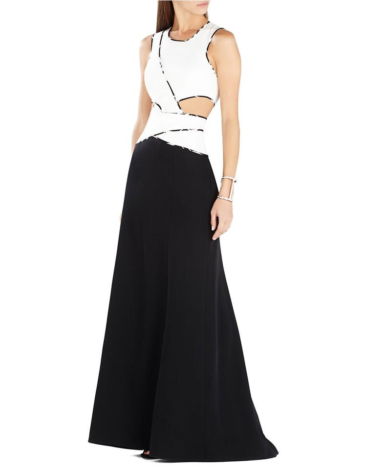 Bcbgmaxazria Black And White Nikkole Colorblock Cutout Gown Long