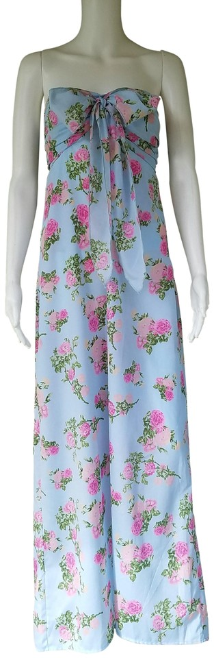 7fe40ba7fddc Blue Maxi Dress by Band of Gypsies Pale Maxi Floral Strapless Halter Image  0 .