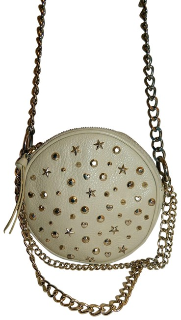 Item - Studded Round Chain Beige Leather Cross Body Bag