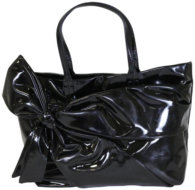 Item - Bow-embellished Lacca Black Patent Leather Tote