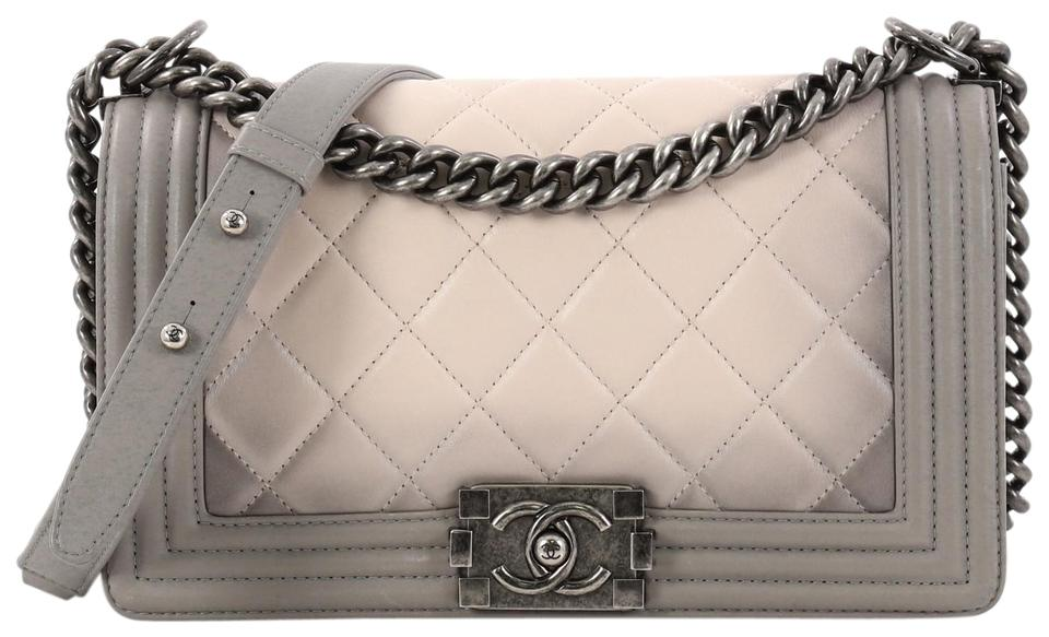 1907628eeab5 Chanel Classic Flap Boy Quilted Ombre Calfskin Old Medium Gray and ...