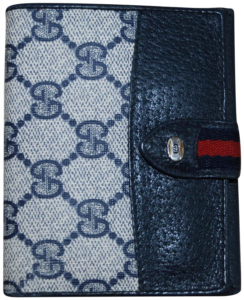 3126055f55fa Gucci Auth Vintage Gucci Navy Monogram Supreme Canvas Leather Bifold Wallet  Image 0 ...