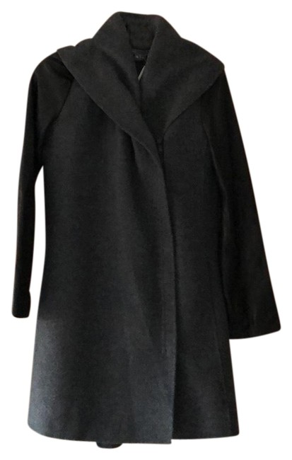 Item - Gray and Black Leather Sleeve Shawl Collar Wool Blended Jacket Coat Size 2 (XS)