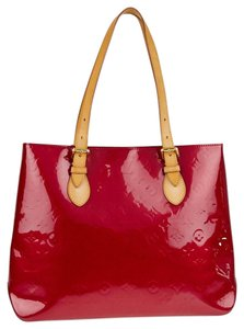 Louis Vuitton Patent Monogram Leather Logo Tote in red