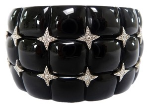 Miriam Salat Miriam Salat Black Resin Wide CUFF Star Studded Bangle BRACELET