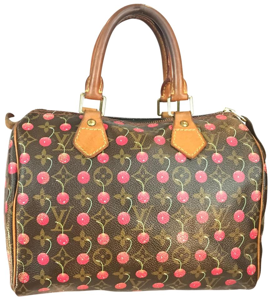 d88e097e99 Louis Vuitton Speedy Vintage Htf Cherry Cerises 25  Limited Edition  Red Brown Canvas Leather Satchel