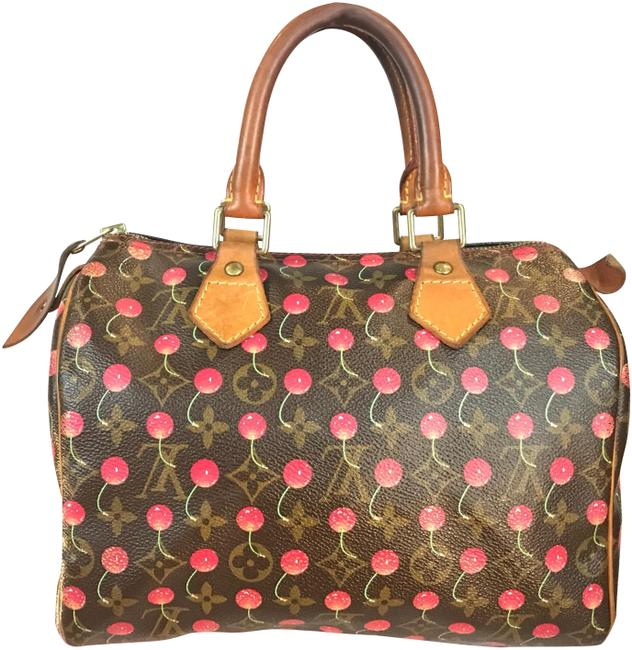 Louis Vuitton Speedy Vintage Htf Cherry Cerises 25: Limited Edition Red/Brown Canvas/Leather Satchel Louis Vuitton Speedy Vintage Htf Cherry Cerises 25: Limited Edition Red/Brown Canvas/Leather Satchel Image 1