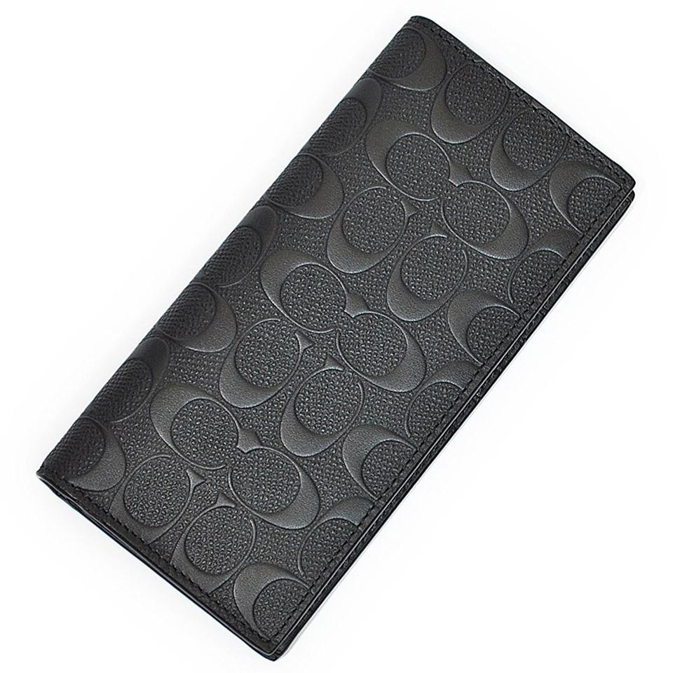 7eb2619798 Coach Black Long New Men Embossed Signature Logo Slim Skinny Leather Wallet