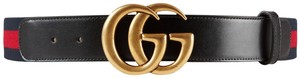 Gucci GUCCI Marmont Web belt with Double G gold buckle Size 95/38