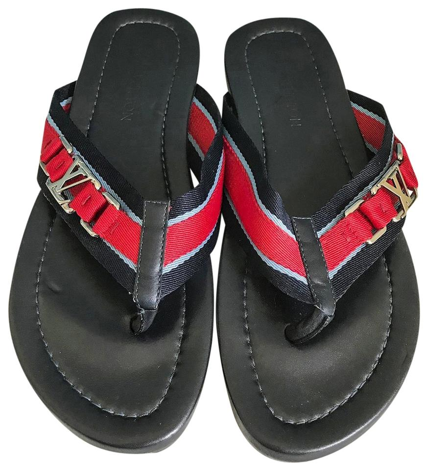 def48eb64de0 Louis Vuitton Red Blue Stripe Men s Lv Logo Flip Flops Multi-Colored Sandals  Image 0 ...