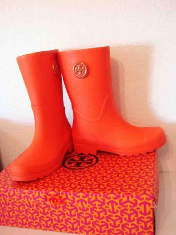 8385e2443ad3 Tory Burch Poppy Red (Orange) Maureen Rain Boots Booties Size US 10 ...