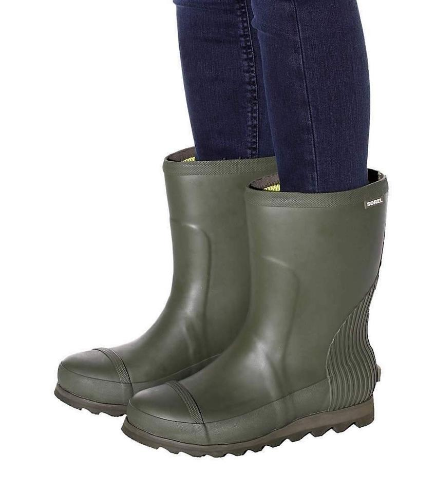 105a0a36278 Sorel Olive Green Lime Waterproof Weathered Duck Spring Cozy Rain Boots  Booties