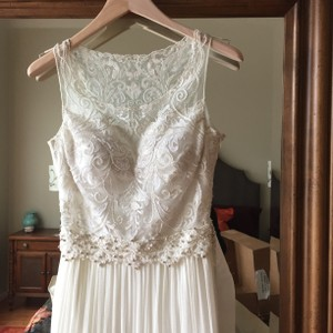 BHLDN Ivory Chiffon Tulle Lucia Gown Feminine Wedding Dress Size 0 (XS)