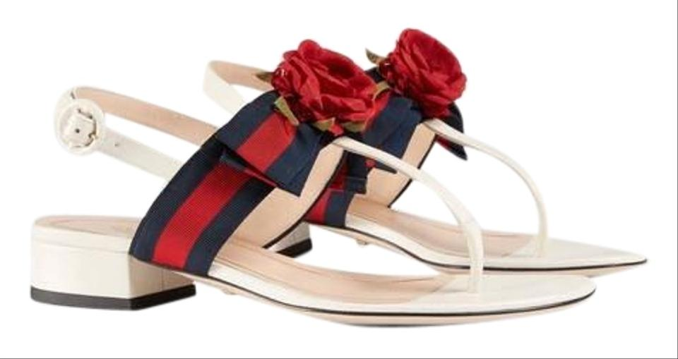 530e73b22ae5 Gucci Web Bow with Silk Flower Leather Sandals Size EU 37 (Approx ...