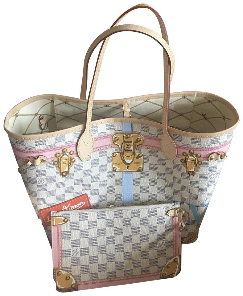 25c0d8fcacb1 Louis Vuitton Neverfull Mm Limited Edition Damier Azur Leather Hobo ...