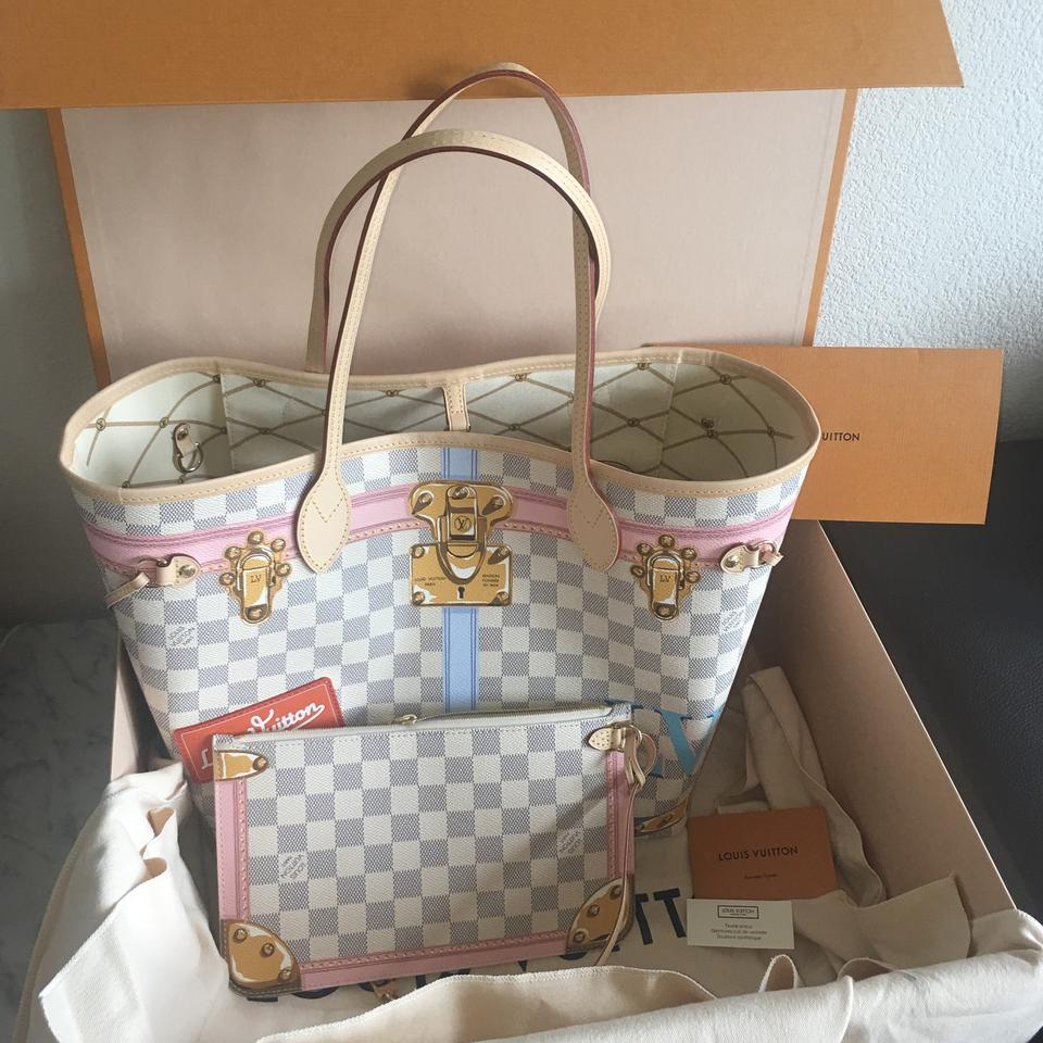 3dc13128caa6 Louis Vuitton Neverfull Mm Limited Edition Damier Azur Leather Hobo Bag -  Tradesy