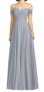Dessy Lilac Purple Lux Off The Shoulder Chiffon Gown Formal Bridesmaid/Mob Dress Size 0 (XS)