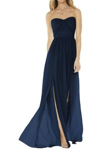 Dessy Midnight Navy Strapless Georgette Formal Bridesmaid/Mob Dress Size 0 (XS)