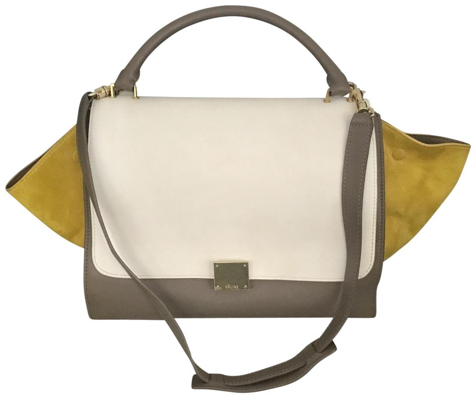 e289ea5cb6a8 Céline Trapeze Cabas Phantom 50off W Code Tote 2 Way Flap Strap Wing Gray  Yellow Suede Leather Shoulder Bag