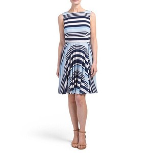 Donna Morgan short dress Blue & White Stripe Fit Flare Bold on Tradesy