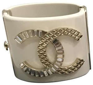 Chanel White Chanel Crystal Cuff Gold Resin Cuff Bracelet 2018 Full Set