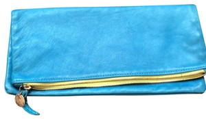 Clare V. Buttery Leather Teal Blue Clutch