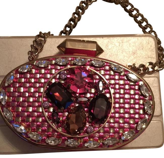 Item - Evening Clutch/Bag Hot Pink with Gold and White Burgundy Pink Stones Satin Clutch