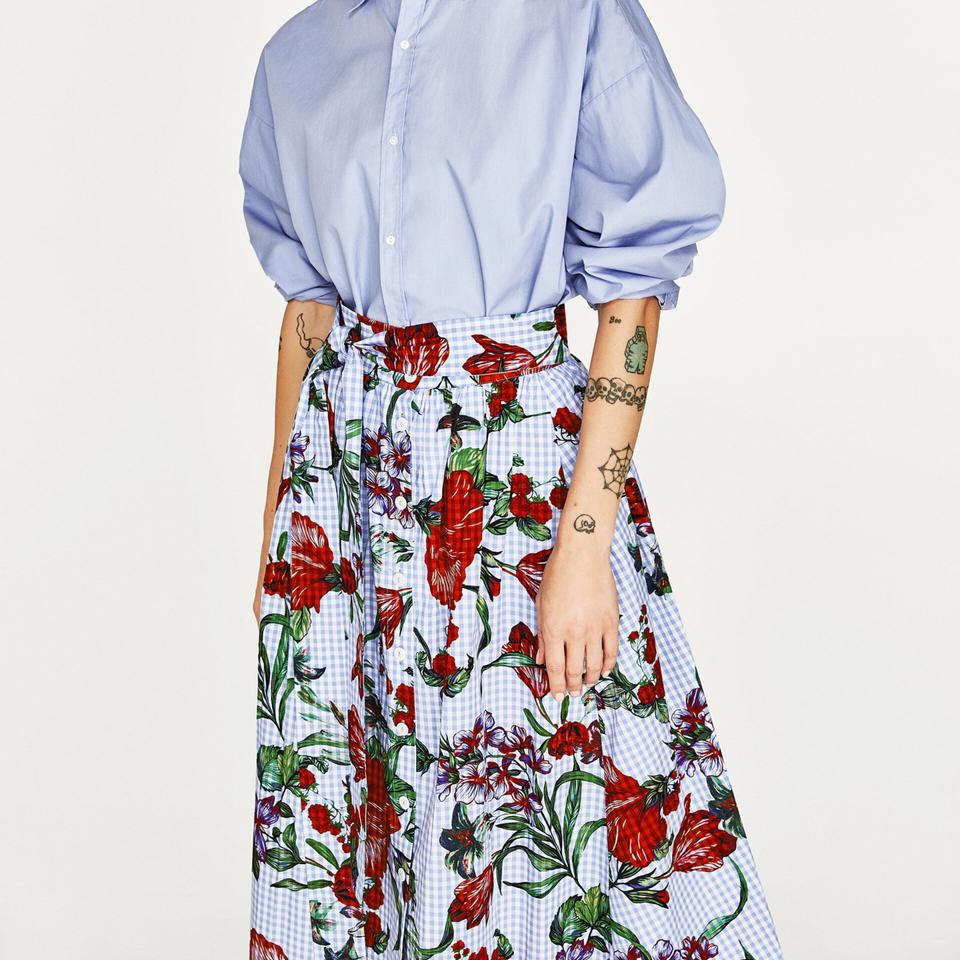 Zara Blue White Red Gingham Check Print With Floralflower Detail