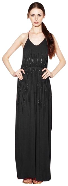 Item - Black Jersey Sequined T-back Long Casual Maxi Dress Size 12 (L)