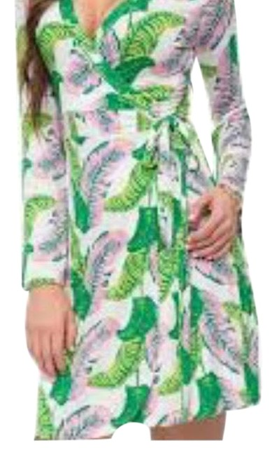 Item - Pink Green White Palm Mid-length Short Casual Dress Size 4 (S)