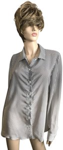 Armani Collezioni Silk Button Down Shirt Ombre Polka Dot