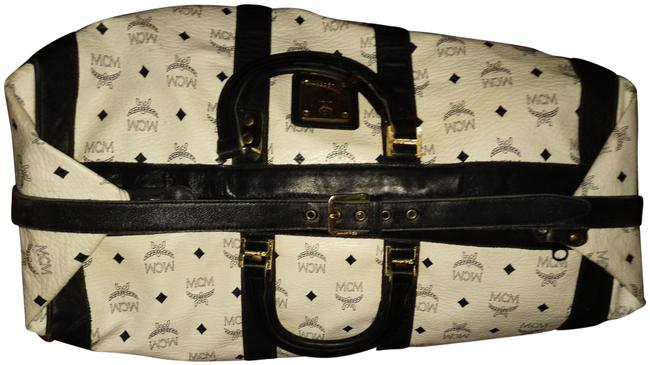 Item - Large Print Luggage with Straps and Golden Hardware White Dark Navy Blue Leather Weekend/Travel Bag