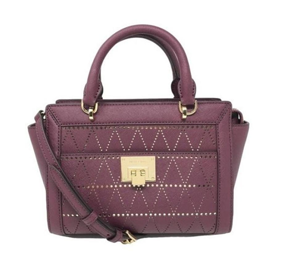 8d6986280b8e Michael Kors Tina Satchel Crossbody Plum Leather Messenger Bag - Tradesy