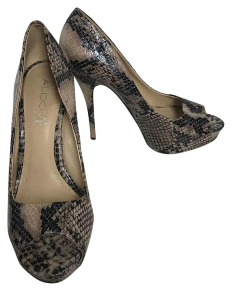 30ac929a00f ALDO Brown Animal Print Peep Toe Platform Pumps Size EU 40 (Approx ...