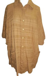 Roaman's Short Sleeve Blouse Plus Size Pockets Pin Tuck Adjustable Sleeves Textured Button Down Shirt Gingerbread