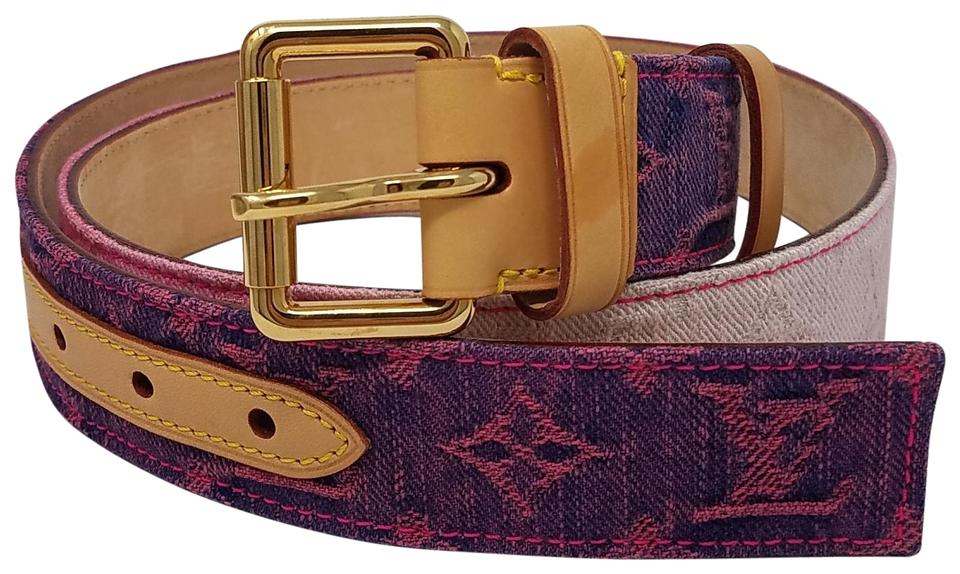 1ec26a98fff7 Louis Vuitton Pink Beige Pink White Lv Monogram Denim Belt - Tradesy