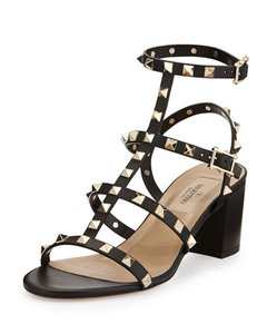 Valentino Rockstud Studded Sandal Stiletto Ankle Strap black Pumps