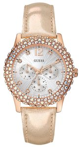 Guess Guess Dazzler Women's Shimmering Leather Silver Tone Dial Rose Gold Stainless Steel Case Glitz Multifunction Watch W0336L4