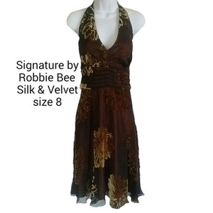 170154b5aa Signature by Robbie Bee Brown Halter Silk Velvet Floral Prom Pa Mid ...