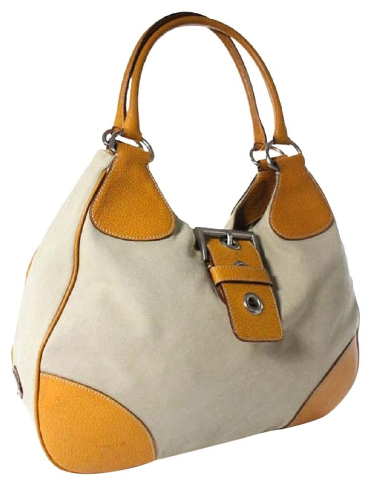 f92afc7efde8 Prada Chrome Hardware Scamosciato Style 1990's Style Xl Crescent Hobo  Excellent Vintage Satchel in tan canvas ...