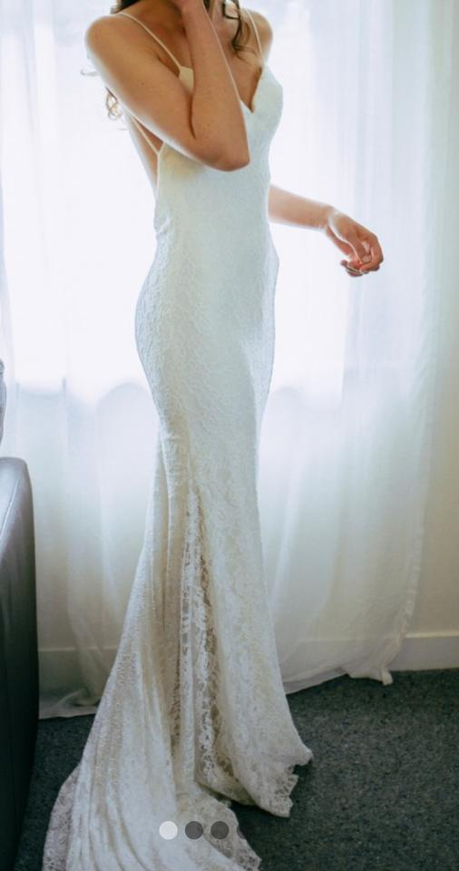 Ivory Lace Over Imperial Crepe 6182 Dramatic Low Back Destination ...
