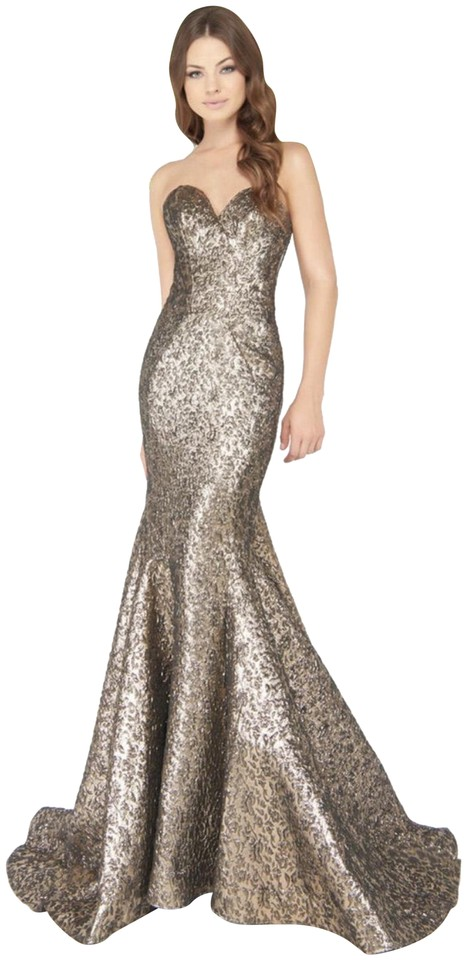 Mac Duggal Couture Metallic Gold Brocade Lame Sweetheart Mermaid