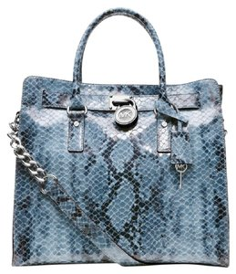 Michael Kors Mk Large Hamilton Mk Mk Large Mk Snake Leather Tote in DENIM BLUE/SILVER Hardware