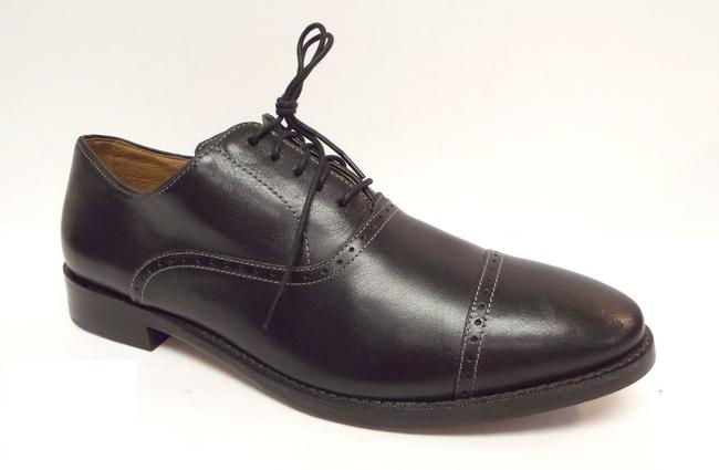 Item - Black Leather Cap Toe Oxfords Men's Shoes