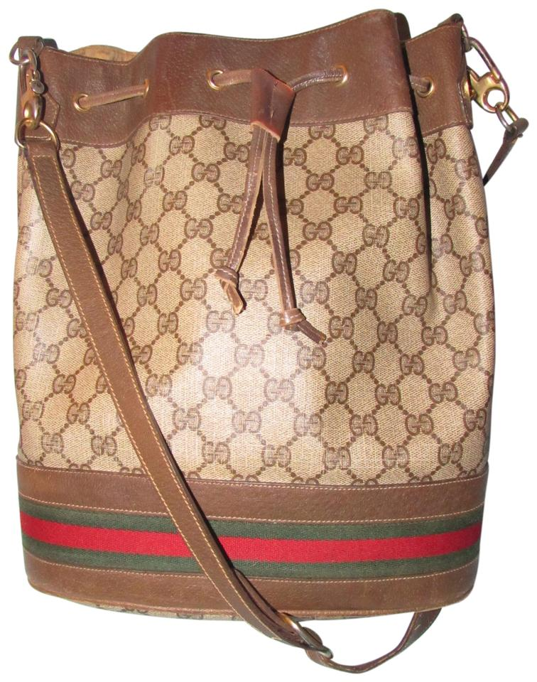 27190582e Gucci Bucket Vintage Purses/Designer Purses Brown Large G Logo Print Coated  Canvas and Brown Leather with A Wide Red and Green Sherry Striped Bottom  Satchel