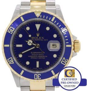 Rolex Rolex Submariner Date 16613 Two Tone No Holes 18k Gold Buckle Watch