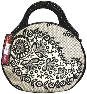 Isabella Fiore Embroidered Leather Satchel in Black and light Sand