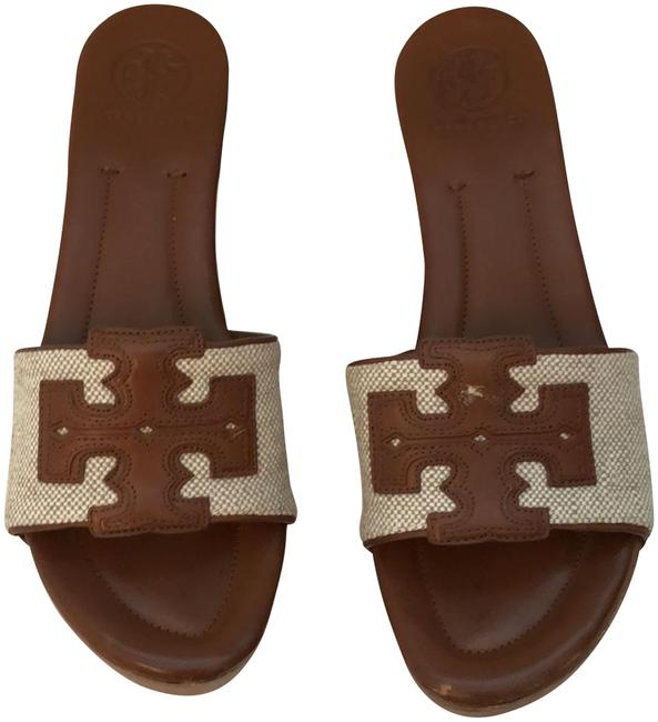 Item - Almond and Natural Terri Canvas Leather Mules/Slides Size US 8.5 Regular (M, B)